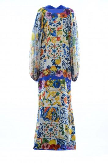 Dolce & Gabbana Women Silk Maiolica Floral Long Dress - F6A1JT GDJ27