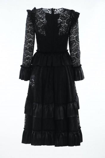 Dolce & Gabbana Women Long Sleeves Lace Midi Dress - F61S7T FLM4J