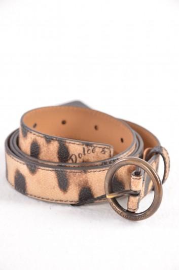 Dolce & Gabbana Cinturón Estampado Leopardo Logo Mujer - BE1019 B7158