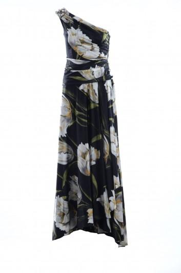 Dolce & Gabbana Women Long Alta Sartoria Silk Ruffle Dress - F64O3Z FSAQI