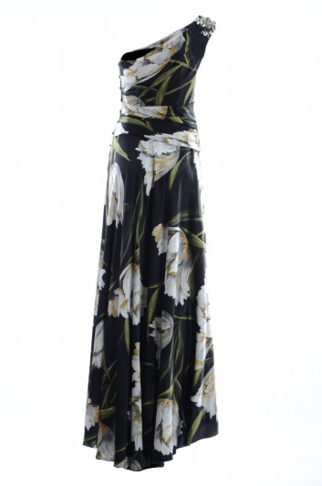 Dolce & Gabbana Vestido Largo Alta Sartoria Seda con Volantes Mujer - F64O3Z FSAQI