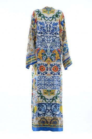 Dolce & Gabbana Vestido Largo Seda Maiolica Limones Mujer - F67U1T GDJ34