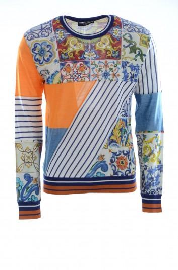 Dolce & Gabbana Men Printed Crewneck Pullover - GX322T JAMGU