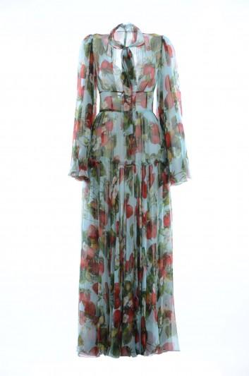 Dolce & Gabbana Women Silk Strawberries Long Dress - F6A2IT HS1WB