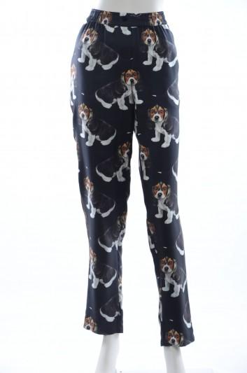 Dolce & Gabbana Pantalón Seda Perros Mujer - FTAPVT HS1Q6