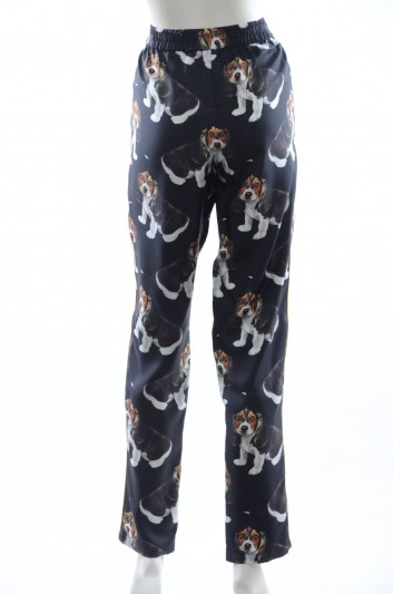 Doce & Gabbana Women Silk Dogs Trousers - FTAPVT HS1Q6