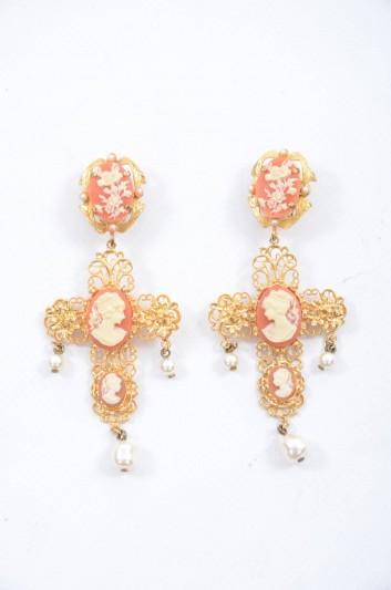Dolce & Gabbana Women Gold Sicily Cross Pearls Statement Earrings - WEH6C5 W0001