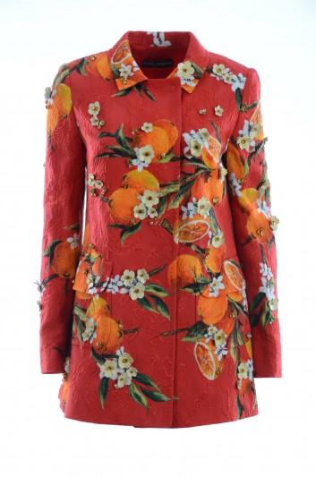 Dolce & Gabbana Women Oranges Print Jewel Coat - F0P52Z GD40L