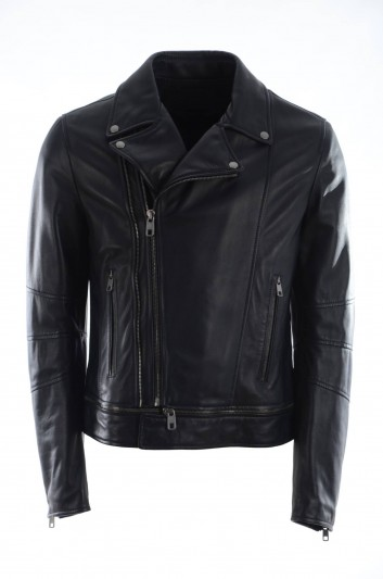 Dolce & Gabbana Men Biker Leather Jacket - G9EX4L FUL3Z