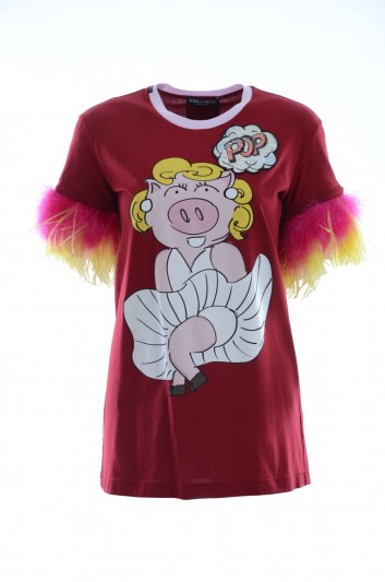 Dolce & Gabbana Camiseta Plumas Mujer - F8K74Z G7RDM