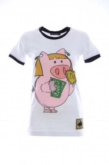Dolce & Gabbana Women Short Sleeves  Little Pig T-shirt - F8H32T HH7JA