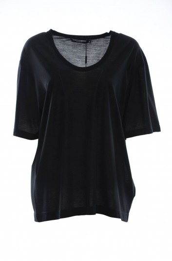 Dolce & Gabbana Camiseta Lana Manga Corta Mujer - F8G73T FU7L1