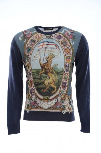 Dolce & Gabbana Men Silk Printed Crewneck Pullover - GX550T JAHGR