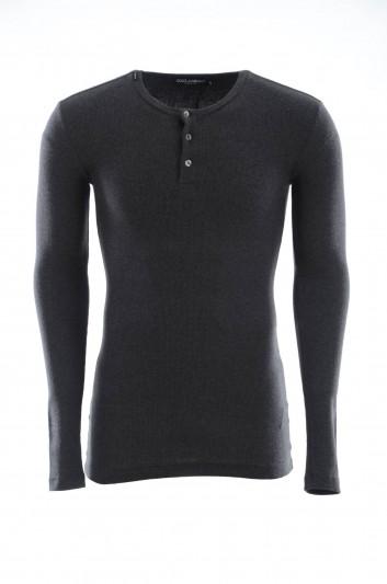 Dolce & Gabbana Men Long Sleeves Henley T-Shirt - G8FR9T FU7CI