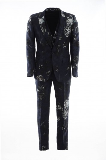 Dolce & Gabbana Men Flowers 1 Button Suit - GK97MT HSMSB