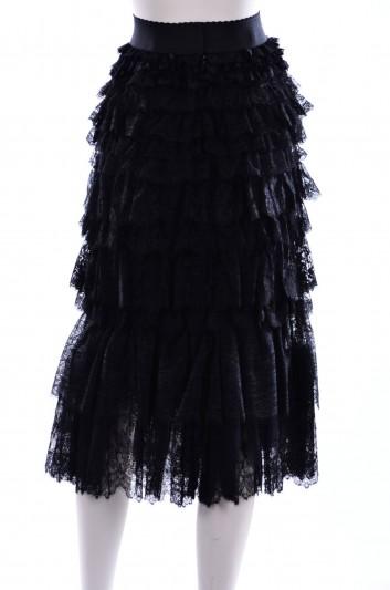 Dolce & Gabbana Women Ruffles Lace Midi Skirt - F4AX2T FLMFB