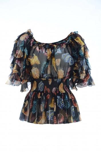 Dolce & Gabbana Top Seda Conchas Mujer - F71O8T HS1R1