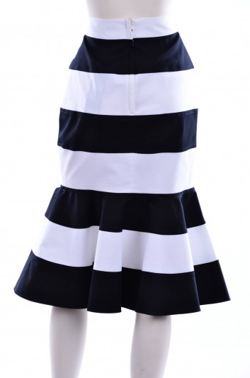 Dolce & Gabbana Women Ruffle Navy Print Midi Skirt - F4AVAT FUFGD