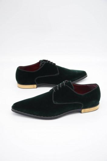 Dolce & Gabbana Zapatos Terciopelo Vestir Cordones Hombre - A10464 A6808