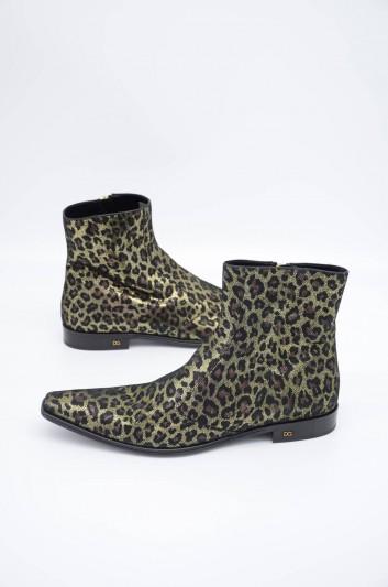 Dolce & Gabbana Men Zipped Print Animal Short Boots - A60234 AA583
