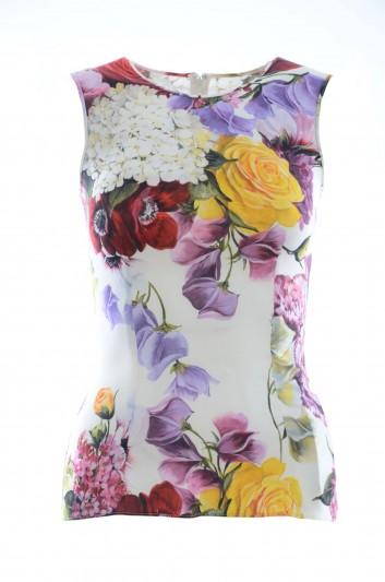 Dolce & Gabbana Top Seda Sin Mangas Flores Mujer - F7ZZFT FSAX3