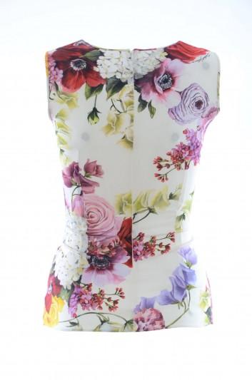 Dolce & Gabbana Women Floral Sleeveless Silk Top - F7ZZFT FSAX3