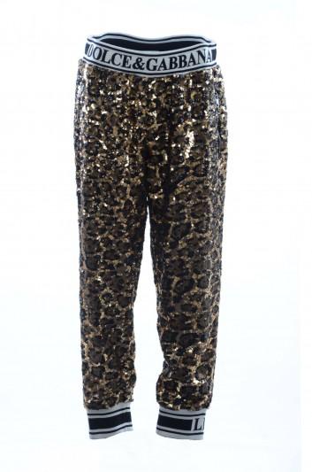 Dolce & Gabbana Pantalones Sport Lentejuelas Leopardo Mujer - FTBCGT FLSCO