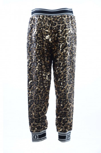 Dolce & Gabbana Women Sequins Leopard Sport Pants - FTBCGT FLSCO