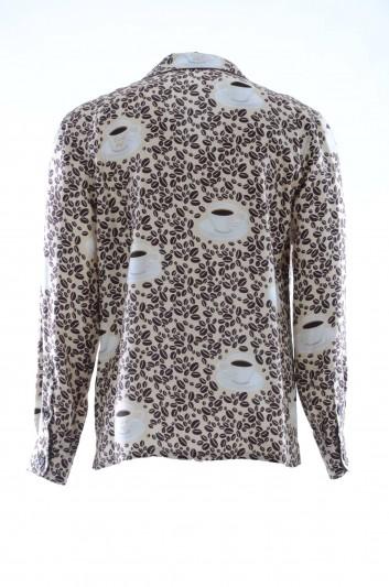 Dolce & Gabbana Camisa Seda Café Hombre - G5GW1T HS1XG