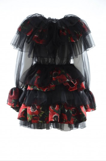 Dolce & Gabbana Vestido Corto Floral Seda Mujer - F6E0YT FL1BY