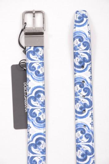 Dolce & Gabbana Men Leather Reversible Majolica Belt - BC4107 AB059