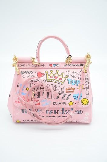 Dolce & Gabbana Women Small Leather Sicily Graffiti Bag - BB6003 AS231