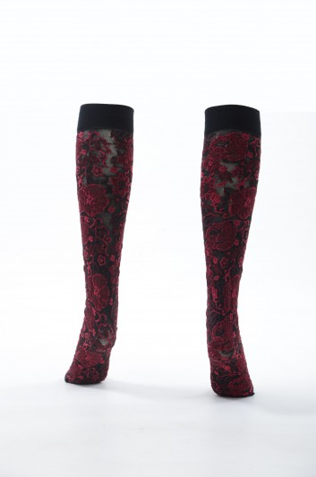 Dolce & Gabbana Women Long Floral Socks - FX584T JAMH9