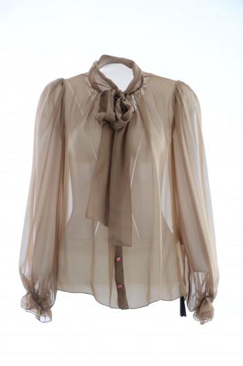 Dolce & Gabbana Women Silk Bow Blouse - F5J34T FU1AT