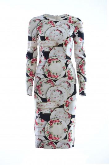 Dolce & Gabbana Vestido Largo Plato Floral Mujer - F6B8HT FSRKB
