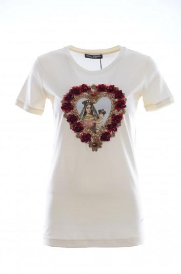 Dolce & Gabbana Women Virgin Mary Heart T-Shirt - F8H32Z FH7M1