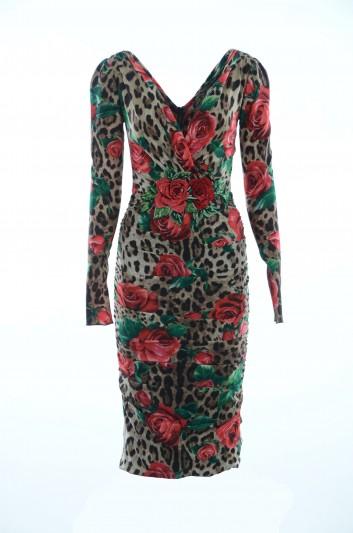 Dolce & Gabbana Women Leopard Floral Dress - F6A2FZ FSAXZ