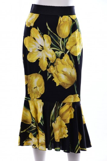 Dolce & Gabbana Women Tulips Print Ruffle Midi Skirt - F4AODT FSAMY