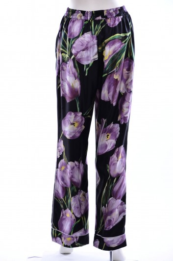 Dolce & Gabbana Women Tulips Print Trousers - FTAORT HS1E5