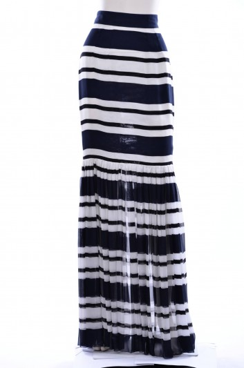 Dolce & Gabbana Women Navy Print Long Skirt - F4AJHT HS1AZ
