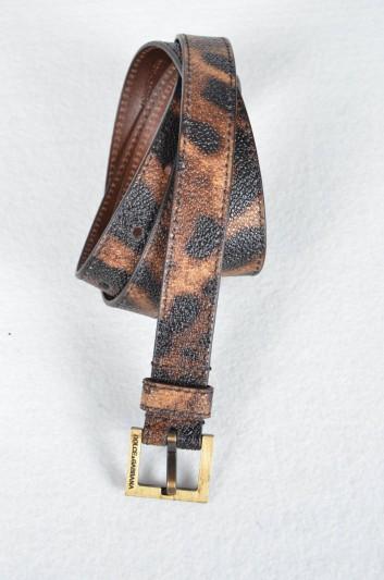 Dolce & Gabbana Cinturón Estampado Leopardo Logo Mujer - BE0795 B7158