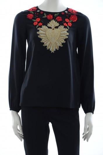 Dolce & Gabbana Women Shield Embroidered Blouse - F7O55T G7CLU