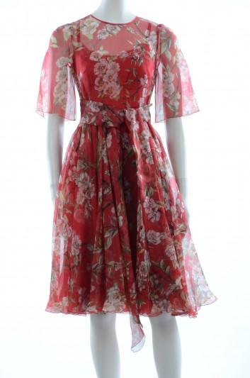 Dolce & Gabbana Women Jewel Buttons Almond Leaf Print Midi Dress - F65E5T HS1NA