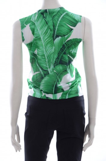 Dolce & Gabbana Women Banana Leaf Print Top - FP801K F66BE