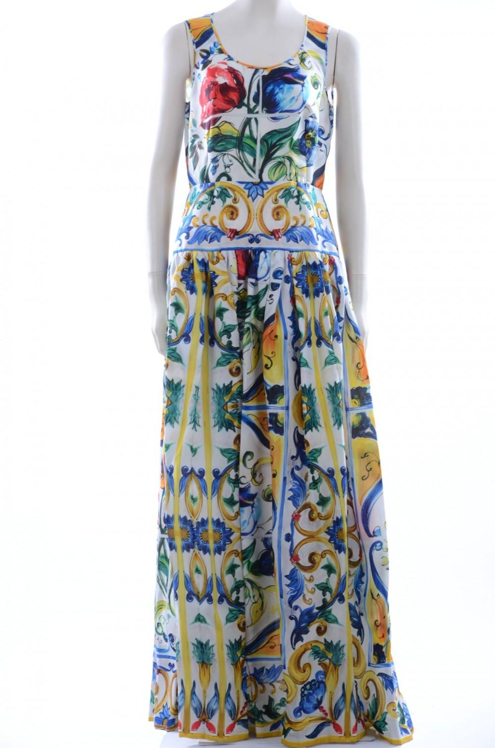 08f1fe545 Dolce & Gabbana Women Maiolica Print Long Dress F6ZX8T HP15F