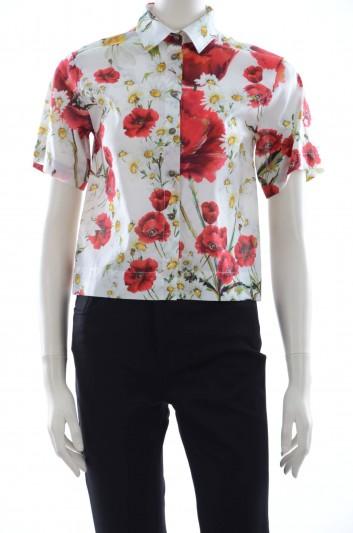 Dolce & Gabbana Women Poppies Print Short Sleeve Shirt - F5G15T FS5Y2