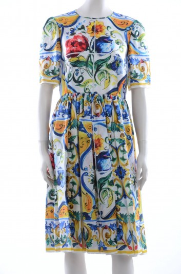 Dolce & Gabbana Women Maiolica Cotton Midi Dress - F6YA6T HP15F