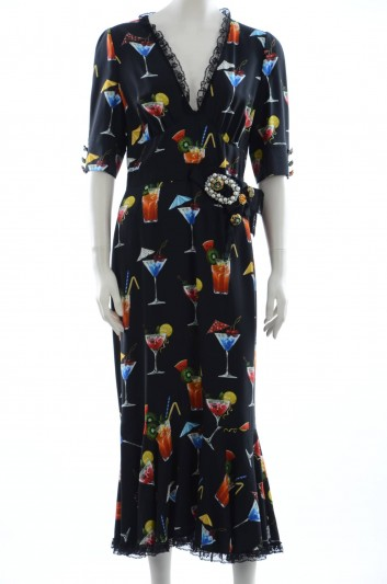 Dolce & Gabbana Women Coctail Print Long Dress - F64S2Z FS8AX