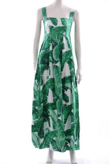 Dolce & Gabbana Women Banana Leaf Print Cotton Long Dress - F6YW6T FS50C