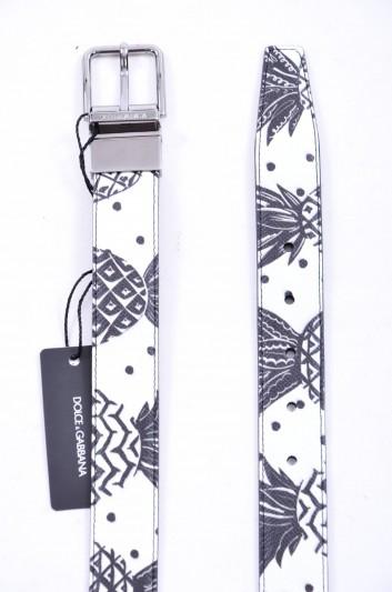 Dolce & Gabbana Men Pineapple Print Logo Reversible Belt - BC4107 AB766